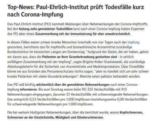 Paul-Ehrlich-Institut prüft Todesfälle nach Impfung 2