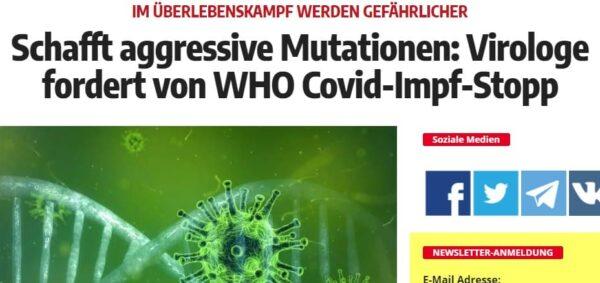 WHO fordert Impfstopp